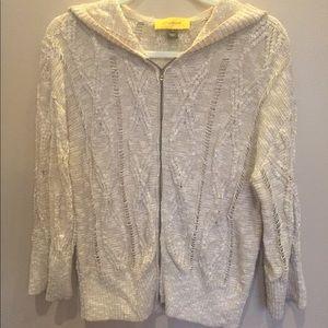 ST John zip up hooded cardigan sweater Sz Large
